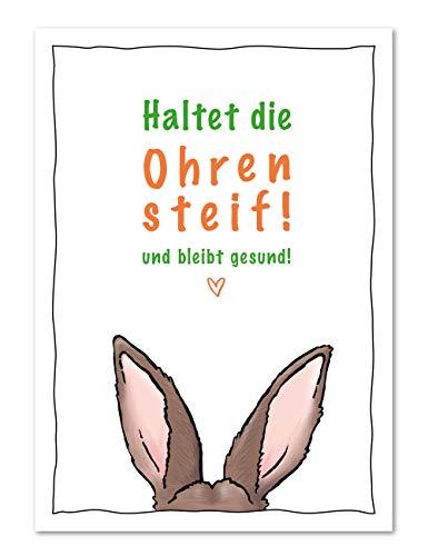 50er Postkarten Set Ostern Haltet die Ohren steif und bleibt gesund - SCHNELLER VERSAND - Karten für Grüße in Zeiten von Corona (50 Stück)