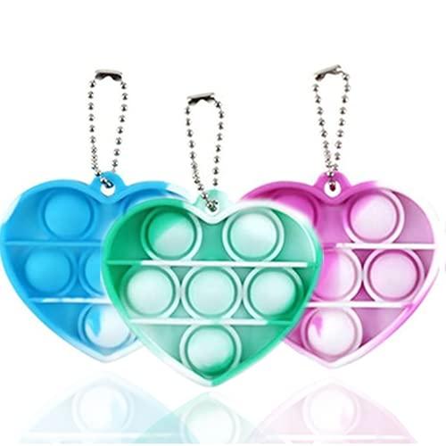 Spiel 3 Stück Pop it Fidget Spielzeug für Anhänger Schlüsselanhänger Kinder und Erwachsene, einfaches Fidget Spielzeug (Herzform)