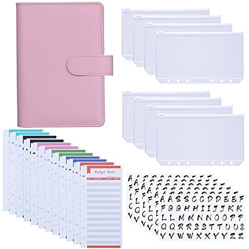 Antner A6 PU Leather Binder Cover with 8PCS A6 Binder Pockets, 12PCS Expense Budget Sheets, 6PCS 26 Categories Letter Sticker Labels, 6-Ring Budget Binder Money Saving Cash Envelopes System, Pink