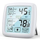 NIXIUKOL Higrometro Digital Termometro Casa Interior Medidor Humedad Termohigrometro con Pantalla Táctil Grande, Indicador de Comodidad, Termometro Ambiental para Oficina Habitación de Bebé
