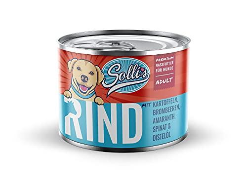 Sollis Hundefutter Nassfutter 6er-Pack | ohne Getreide | Verschiedene Sorten & Größen (Rind, 6x200g)