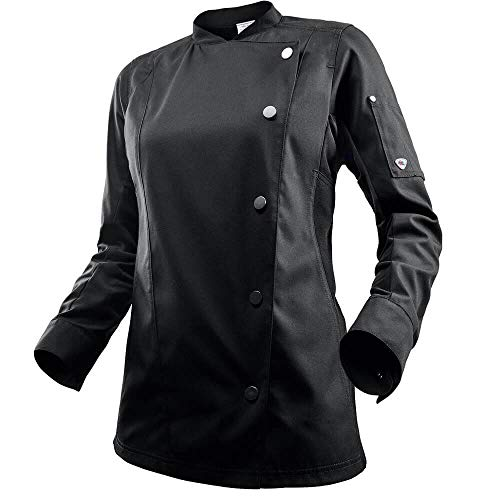 BP 1594-485-32-XS - Chaqueta de chef para mujer, manga larga, insertos piqué y sistema de elevación de brazos, 215,00 g/m², mezcla de tejidos, color negro, XS