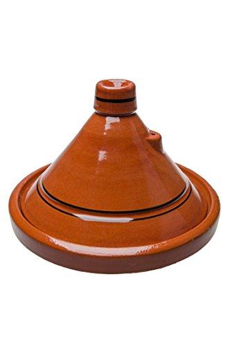 Marokkanische Tajine Topf zum Kochen | Schmortopf glasiert Tanger Ø25cm 1-3 Personen | inklusive Rezept und Gebrauchsanweisung | ORIGINAL Tontopf handgetöpfert aus Marokko