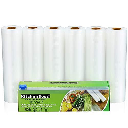 KitchenBoss Vakuumrollen mit Cutter-Box, 6 Rollen 20x500cm Folienrollen BPA-Frei für alle Vakuumierer, stark & reißfest & kochfest & wiederverwendbar Vakuumbeutel für Sous Vide