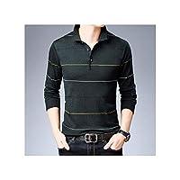 セーター男性ストライププルオーバー男性ニットプルソフトの暖かい綿ウールセーター、黒、M