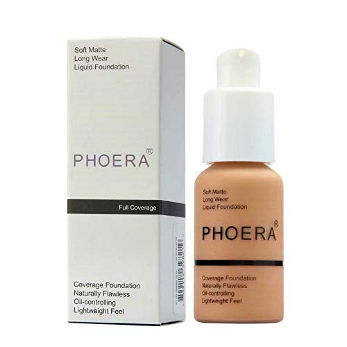 PHOERA 30ml Concealer Cover, Flüssigmatt Full Coverage Concealer Cover Shadows Skin Care Foundation Oil Control Erhellen Sie den langlebigen Shade (Buff Beige #104)