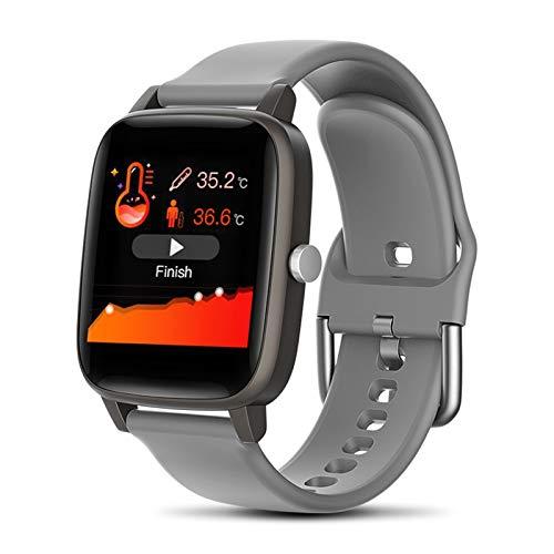 XXY Smart Watch Cuerpo Temperatura Medición Tasa del Corazón Monitoreo Monitorial Presión Arterial Aptitud Deporte Smartwatch para Mujeres Hombres (Color : Gray, Size : 2 PCS)