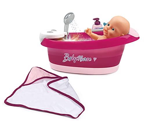 Smoby - Baby Nurse - Baignoire Balnéo - Pour Poupons et Poupées - Jets d'eau et Bulles - Lumières LED - 220362