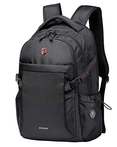 Ruigor ICON 24 robuster Trekking Rucksack wasserabweisender Outdoor Rucksack 26l Laptoprucksack mit Laptopfach 15.6 Zoll Arbeitsrucksack USB-Port schwarz RGB6424
