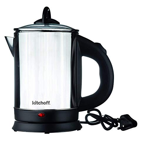 Kitchoff KIT1807 Automatic Stainless Steel Electric Kettle Auto Shut Off Extra Large Kettle With Handle (1.7 L, Transparent & Black)