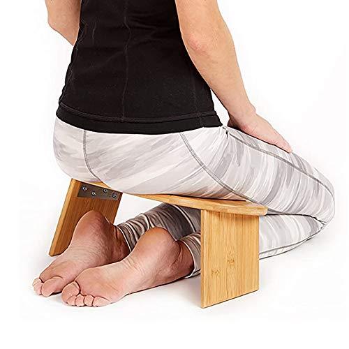 Folding Meditation Bench with Locking Magnetic Hinges - Meditation Seat - Bonus Portable Travel Carry Bag - Ergonomic Bamboo Yoga Stool