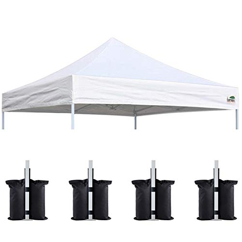 Eurmax 10x10 Pop Up Canopy Replacement Canopy Tent Top Cover, Instant Ez Canopy Top Cover ONLY, Choose 30 Colors,Bonus 4PC Pack Canopy Weight Bag (White)
