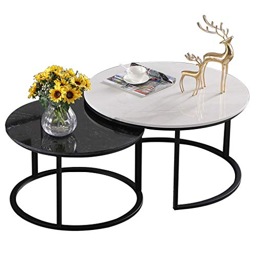 ZRXian-Kaffeetische Wohnzimmertische Runder Couchtisch/Beistelltisch Metall Goldener Rahmen & Marmor Schreibtisch Büro Wohnzimmer Schlafzimmer Balkon Stapelbarer Beistelltisch mit Akzent - 2er-Set