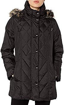 LONDON FOG Women's Diamond Quilted Down Coat (Small or X-Small) (Black)