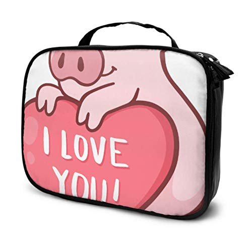 Cute Cartoon Pig Pink Travel Teen Girl Makeup Bag Women Cosmetic Bag Women Makeup Bag Multifunction Printed Pouch for Women