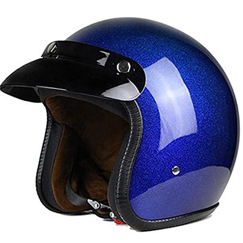 YXST Casco Moto,Casco De Esquí Certificado CE Resistente,Transpirable Retro Moto-Casco para Esquí,Patineta,Protector 55-64cm,Blue,S