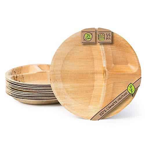 BIOZOYG Palmware Plato Vajilla desechable Biodegradable Hoja de Palma Tipo Menu con 3 divisiones I 25 Platos alrededor-25cm I vajilla desechable compostable para Fiesta y mas