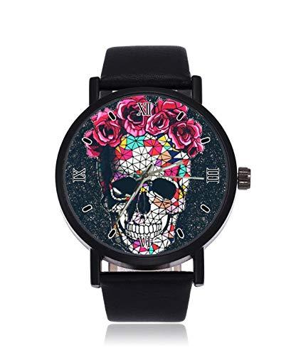 Analoge Quarz-Armbanduhr mit Totenkopf-Motiv, schwarzes Stahl-Lederarmband für Damen und Herren