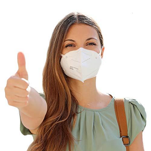 NEU: FFP2 Atemschutzmaske mit offiziellem Zertifikat CE2163, Mundschutz Maske 5-lagig [10 Stück] 3D Gesichtsmaske faltbar
