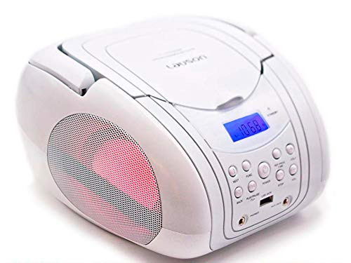 Lauson CP556 Boombox with Cd Player Mp3 | Portable Radio CD-Player Stereo with USB | Cd Player for Kids | LED Light | Headphone Jack (3.5mm) CD-Radio White