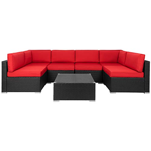 Walsunny 7pcs Patio Outdoor Furniture Sets,Low Back All-Weather Rattan Sectional Sofa with Tea Table&Washable Couch Cushions (Black Rattan)(Red)