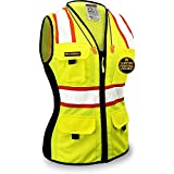 KwikSafety (Charlotte, NC) FIRST LADY Safety Vest for Women (Solid REFLECTIVE TAPE) Premium Class 2 Custom High Visibility ANSI OSHA 9 Pockets Fitted Construction Work with Zipper | Yellow Small