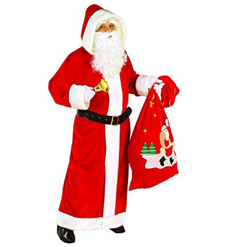 WIDMANN Santa Claus Kostüm XL - Weihnachtsmann - Nikolaus SAMT Delux + weiße Handschuhe Weihnachten