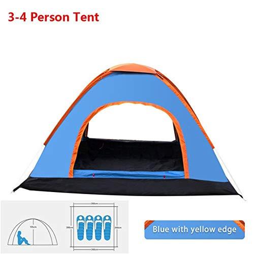 Tent HDS Automatique Pop Up Camping Randonnée 1 2 3 4 Personne Plusieurs modèles d'extérieur Famille Easy Open Camp Ultraléger instantané Ombre (Color : Blue 3 4 Man)