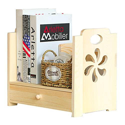 Massivholz Geschnitzte Schreibtisch Aufbewahrungsbox Schreibtisch Aufbewahrungsbox Holz Schlafsaalregal Geschnitztes Griffdesign Mit Schublade (Color : Wood Color, Size : 35×22×30cm)