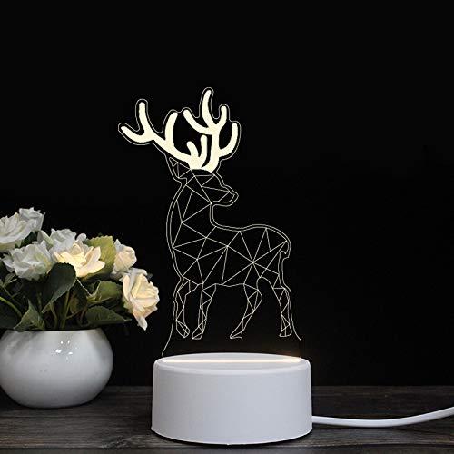 Led lampe à économie d'énergie créative modélisation cochon 3d lampe étoile lampe petite veilleuse USB cadeau romantique cadeau lampe romantique, Elk, base noire: fiche tricolore (rouge-bleu-violet)