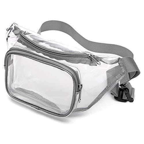 Clear Packs Riñonera Impermeable Transparente aprobada por el Estadio para Hombres y Mujeres, cinturón Ajustable Gris para Rave, Festival, Viajes, Fiestas, Juegos Deportivos