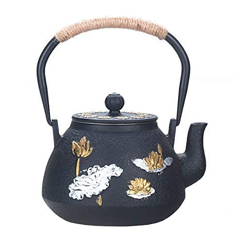 JYSXAD Tetera de hierro fundido de estilo japonés con colador de acero inoxidable, pato mandarina jugando en el agua y patrón de loto (1,2 l) negro)