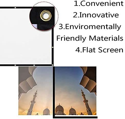 HGSDKECFS Portable Projection Screen 100 Inch Foldable Projector Screen HD White Projection Screen 3D Movie for Outdoor Camping 16:9 Portable