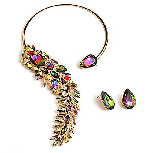 yqs Conjunto de Joyas Coloridas Chokers Chokers Collares de Moda Trend Cristales Collares Accesorios de joyería Fina para Las Mujeres (Metal Color : Multicolor)