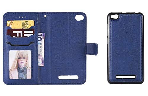 Sunrive Hülle Für Xiaomi Redmi 4A, Magnetisch Schaltfläche Ledertasche Schutzhülle Hülle Handyhülle Schalen Handy Tasche Lederhülle 2 in 1(043 Blau)+Gratis Universal Eingabestift