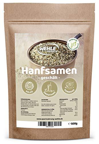 Hanfsamen geschält natürliche Protein Eiweißquelle + Omega 3 Hempseeds - Wehle Sports Vegan, Glutenfrei, Rohkost Herkunft Österreich (500g)