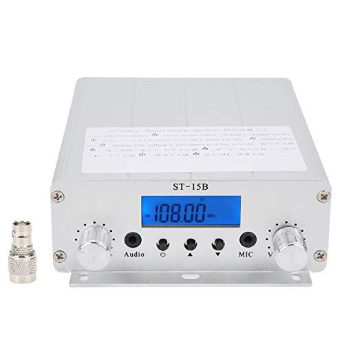 Trasmettitore FM, 87-108 MHZ 1.5 W   5 W Trasmettitore di trasmissione HY-ST-15BV2, per stazione di trasmissione radio (materiale in lega di alluminio)