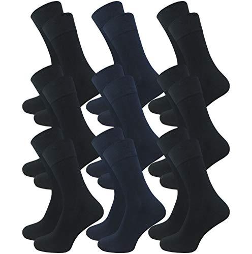 9 Paar weiche Herren Bambus Socken ohne Gummi – Business & Freizeit (43-46, farbig1)
