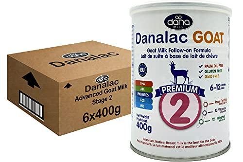 DANALAC PREMIUM Lait de bébé en poudre à base de lait de Chèvre 2ème âge pour nourrissons et bébés âgés de 6 à 12 mois - Formule EU-2020 (400 g Lot de Boîtes de 6)