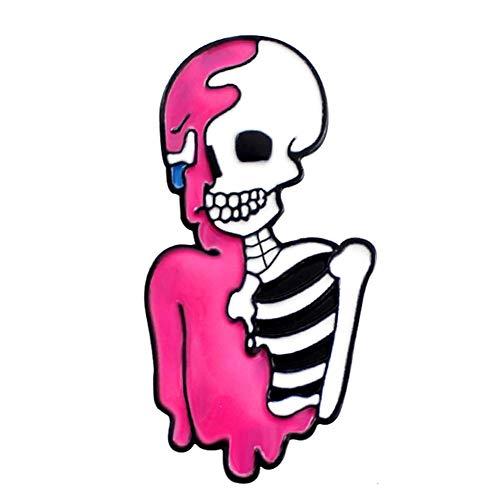 Preisvergleich Produktbild Vektenxi Premium-Qualität Cool Emaille Skeleton Shirt Revers Pin Button Badge Brosche Schmuck Frauen Zubehör