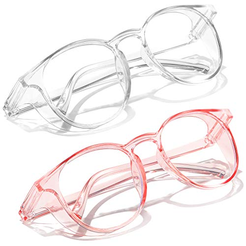 SeeBand Safety Glasses Anti Fog Round Clear Safety Goggles Scratch Resistant with Blue Light Blocking Glasses for Women Men (Transparent/Clear Pink)