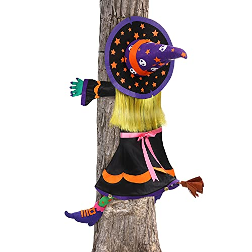 PRETYZOOM 2021 Cuerda Silly Halloween Bruja Decoraciones Árbol Cinta Envoltura Interior Paquete Tronco Mago de Oz Suministros de Fiesta Enredado- Halloween Bruja Árbol Ornanment con Campanas