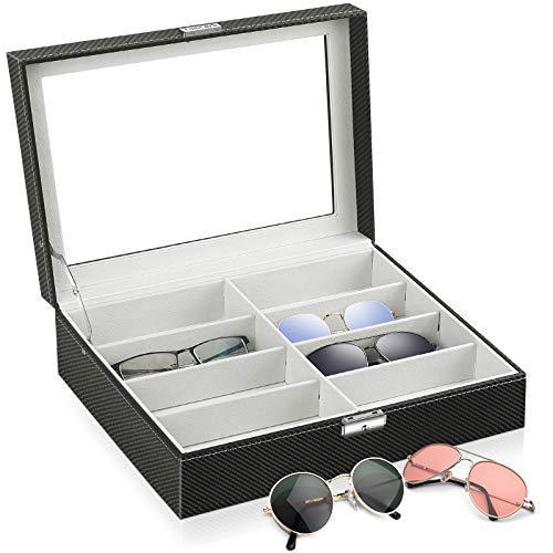 TomCare - Caja expositora para gafas de sol, con cierre en la parte superior de cristal y piel sintética para hombres y mujeres, color negro