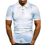 Polo Shirt Hombre Impresión Hombre Henley Camisa Verano Slim Fit Elástica Manga Corta Shirt Casuales Camisa Urbanos Negocios Casuales Camisa A-White1 3XL
