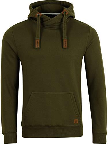 riverso Herren Kapuzenpullover RIVNiklas Pullover Sweatshirt Hoodie Kapuze Kängurutaschen Cross-Over-Kragen Regular Einfarbig Baumwolle Grün 5XL (5XL, Ivy Green (BJD))