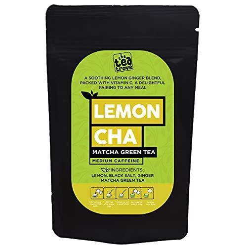 The Tea Trove Matcha Green Tea Powder for Weight Loss (100g) - Lemon, Ginger, Matcha tea with Black Rock Salt for Athletes & Sports Performance, Instant Desi Macha Tea, Lemon Green Tea Detox (40 Cups)
