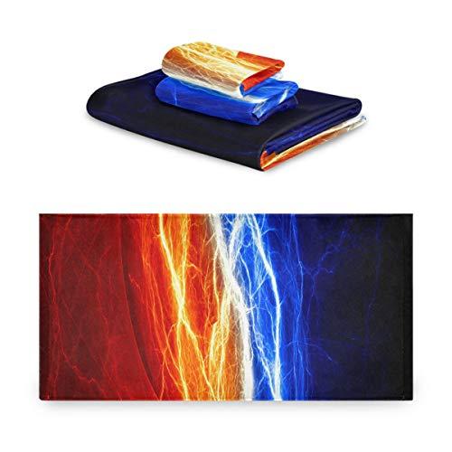 Juegos de Toallas para niñas Descarga eléctrica Entre Hielo y Fuego Juego de Toallas de baño decrotrices Extremadamente Absorbente, Hermoso Juego de Toallas de 3 Piezas 1 Toalla de baño, 1 Toalla de