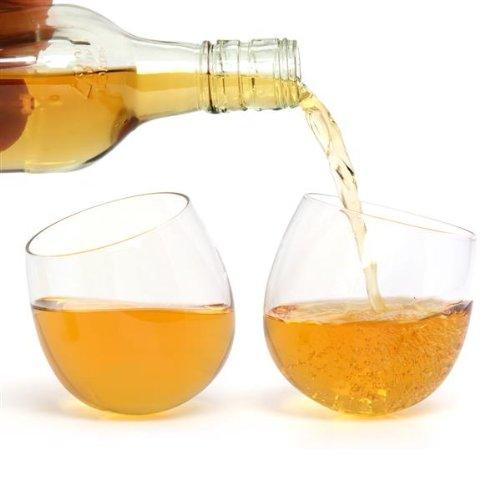 CKB LTD Confezione da 2 bicchieri da whisky a dondolo con base rotonda senza stelo, divertente set regalo da 300 ml, utilizzabile anche per vino rosso