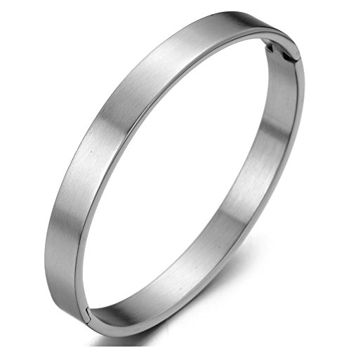 COOLSTEELANDBEYOND Klassiker Herren Damen Armband Armreif aus Edelstahl Farbe Silber Satiniert
