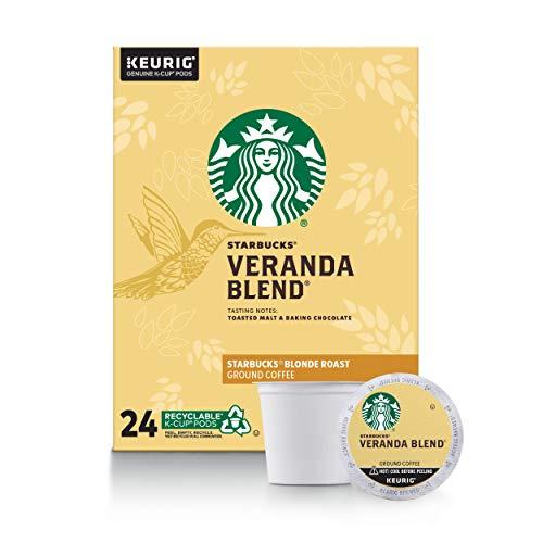 Starbucks Veranda Blend Coffee K-Cup Pods   Blonde Roast   Coffee Pods for Keurig Brewers   1 Box (24 Pods)